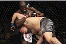 CALGARY, CANADA - JULY 21: (L-R) Cheick Kongo grabs the left arm of Shawn Jordan during their heavyweight bout at UFC 149 inside the Scotiabank Saddledome on July 21, 2012 in Calgary, Alberta, Canada.  (Photo by Nick Laham/Zuffa LLC/Zuffa LLC via Getty Images)
