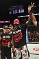 CALGARY, CANADA - JULY 21: Cheick Kongo celebrates after defeating Shawn Jordan during their heavyweight bout at UFC 149 inside the Scotiabank Saddledome on July 21, 2012 in Calgary, Alberta, Canada.  (Photo by Nick Laham/Zuffa LLC/Zuffa LLC via Getty Images)