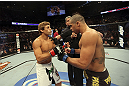 CALGARY, CANADA - JULY 21: (L-R) Urijah Faber faces off against Renan Barao during their UFC interim bantamweight championship bout at UFC 149 inside the Scotiabank Saddledome on July 21, 2012 in Calgary, Alberta, Canada.  (Photo by Nick Laham/Zuffa LLC/Zuffa LLC via Getty Images)