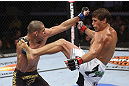 CALGARY, CANADA - JULY 21: (L-R) Renan Barao blocks a kick from Urijah Faber during their UFC interim bantamweight championship bout at UFC 149 inside the Scotiabank Saddledome on July 21, 2012 in Calgary, Alberta, Canada.  (Photo by Nick Laham/Zuffa LLC/Zuffa LLC via Getty Images)
