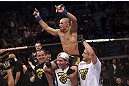 CALGARY, CANADA - JULY 21:  Renan Barao celebrates his victory over Urijah Faber after their UFC interim bantamweight championship bout at UFC 149 inside the Scotiabank Saddledome on July 21, 2012 in Calgary, Alberta, Canada.  (Photo by Nick Laham/Zuffa LLC/Zuffa LLC via Getty Images)