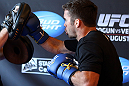 LOS ANGELES - AUGUST 01:  Jamie Varner works out for the media during the UFC on FOX open workouts at the J.W. Marriott on August 1, 2012 in Los Angeles, California. (Photo by Josh Hedges/Zuffa LLC/Zuffa LLC via Getty Images)