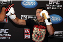 LOS ANGELES - AUGUST 01:  Lyoto Machida works out for the media during the UFC on FOX open workouts at the J.W. Marriott on August 1, 2012 in Los Angeles, California. (Photo by Josh Hedges/Zuffa LLC/Zuffa LLC via Getty Images)