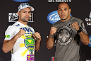 LOS ANGELES - AUGUST 02: (L-R) Opponents Mauricio ''Shogun'' Rua and Brandon Vera pose for photos during the UFC on FOX press conference at the J.W. Marriott on August 2, 2012 in Los Angeles, California. (Photo by Josh Hedges/Zuffa LLC/Zuffa LLC via Getty Images)
