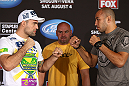 LOS ANGELES - AUGUST 02: (L-R) Opponents Mauricio ''Shogun'' Rua and Brandon Vera face off during the UFC on FOX press conference at the J.W. Marriott on August 2, 2012 in Los Angeles, California. (Photo by Josh Hedges/Zuffa LLC/Zuffa LLC via Getty Images)