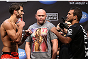 LOS ANGELES - AUGUST 03: (L-R) Opponents Josh Grispi and Rany Yahya face offduring the UFC on FOX weigh in at Staples Center on August 3, 2012 in Los Angeles, California. (Photo by Josh Hedges/Zuffa LLC/Zuffa LLC via Getty Images)