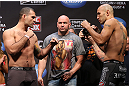 LOS ANGELES - AUGUST 03: (L-R) Opponents Mauricio ''Shogun'' Rua and Brandon Vera face off during the UFC on FOX weigh in at Staples Center on August 3, 2012 in Los Angeles, California. (Photo by Josh Hedges/Zuffa LLC/Zuffa LLC via Getty Images)