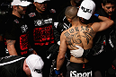 LOS ANGELES, CA - AUGUST 04:  John Moraga hugs his team before taking on Ulysses Gomez in their flyweight bout during the UFC on FOX event at Staples Center on August 4, 2012 in Los Angeles, California.  (Photo by Josh Hedges/Zuffa LLC via Getty Images)