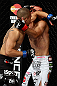 LOS ANGELES, CA - AUGUST 04:  John Moraga (L) elbows Ulysses Gomez in the first round during the UFC on FOX event at Staples Center on August 4, 2012 in Los Angeles, California.  (Photo by Josh Hedges/Zuffa LLC via Getty Images)