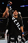 LOS ANGELES, CA - AUGUST 04:  John Moraga celebrates winning his flyweight bout after knocking out Ulysses Gomez in the first round during the UFC on FOX event at Staples Center on August 4, 2012 in Los Angeles, California.  (Photo by Josh Hedges/Zuffa LLC via Getty Images)