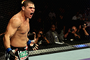 LOS ANGELES, CA - AUGUST 04:  Wagner Prado reacts after the referee stopped the bout due to an unintentional eye poke during the UFC on FOX at Staples Center on August 4, 2012 in Los Angeles, California. The bout was ruled no decision. (Photo by Josh Hedges/Zuffa LLC via Getty Images)