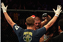 LOS ANGELES, CA - AUGUST 04:  Joe Lauzon celebrates after defeating Jamie Varner in their lightweight bout during the UFC on FOX at Staples Center on August 4, 2012 in Los Angeles, California. Lauzon secured submission by triangle choke.  (Photo by Josh Hedges/Zuffa LLC via Getty Images)