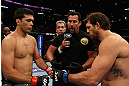 LOS ANGELES, CA - AUGUST 04:  Lyoto Machida (L) pumps fists with Ryan Bader (R) before their light heavyweight bout during the UFC on FOX at Staples Center on August 4, 2012 in Los Angeles, California. Machida won the bout by way of knock out in the second round.  (Photo by Josh Hedges/Zuffa LLC via Getty Images)