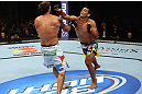 LOS ANGELES, CA - AUGUST 04:  Lyoto Machida (R) takes on Ryan Bader (L) in their light heavyweight bout during the UFC on FOX at Staples Center on August 4, 2012 in Los Angeles, California.  (Photo by Josh Hedges/Zuffa LLC via Getty Images)