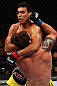 LOS ANGELES, CA - AUGUST 04:  Lyoto Machida  lands a punch that knocks out Ryan Bader in the second round during the UFC on FOX at Staples Center on August 4, 2012 in Los Angeles, California.  (Photo by Josh Hedges/Zuffa LLC/Zuffa LLC via Getty Images)