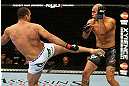 LOS ANGELES, CA - AUGUST 04:  Shogun Rua (L) kicks Brandon Vera (R) in their light heavyweight bout during the UFC on FOX at Staples Center on August 4, 2012 in Los Angeles, California. Rua defeated Vera by way of TKO in the fourth round.  (Photo by Josh Hedges/Zuffa LLC/Zuffa LLC via Getty Images)