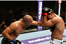 LOS ANGELES, CA - AUGUST 04:  Shogun Rua (R) exchanges stirkes with Brandon Vera (L) during the UFC on FOX at Staples Center on August 4, 2012 in Los Angeles, California. Rua defeated Vera by way of TKO in the fourth round.  (Photo by Josh Hedges/Zuffa LLC/Zuffa LLC via Getty Images)