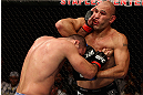 LOS ANGELES, CA - AUGUST 04:  Brandon Vera (R) exchange strikes with Shogun Rua (L) in their light heavyweight bout during the UFC on FOX at Staples Center on August 4, 2012 in Los Angeles, California. Rua defeated Vera by way of TKO in the fourth round.  (Photo by Josh Hedges/Zuffa LLC/Zuffa LLC via Getty Images)