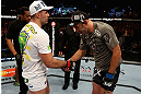 LOS ANGELES, CA - AUGUST 04:  Shogun Rua (L) is congratulated by Brandon Vera (R) after their light heavyweight bout during the UFC on FOX at Staples Center on August 4, 2012 in Los Angeles, California. Rua defeated Vera by way of TKO in the fourth round.  (Photo by Josh Hedges/Zuffa LLC/Zuffa LLC via Getty Images)