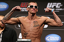 DENVER, CO - AUGUST 10:  Dustin Pague makes weight during the UFC 150 weigh in at Pepsi Center on August 10, 2012 in Denver, Colorado. (Photo by Josh Hedges/Zuffa LLC/Zuffa LLC via Getty Images)