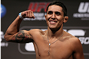 DENVER, CO - AUGUST 10:  Erik Perez makes weight during the UFC 150 weigh in at Pepsi Center on August 10, 2012 in Denver, Colorado. (Photo by Josh Hedges/Zuffa LLC/Zuffa LLC via Getty Images)