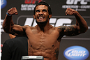 DENVER, CO - AUGUST 10:  Dennis Bermudez makes weight during the UFC 150 weigh in at Pepsi Center on August 10, 2012 in Denver, Colorado. (Photo by Josh Hedges/Zuffa LLC/Zuffa LLC via Getty Images)