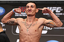 DENVER, CO - AUGUST 10:  Max Holloway makes weight during the UFC 150 weigh in at Pepsi Center on August 10, 2012 in Denver, Colorado. (Photo by Josh Hedges/Zuffa LLC/Zuffa LLC via Getty Images)