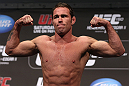 DENVER, CO - AUGUST 10:  Jake Shields makes weight during the UFC 150 weigh in at Pepsi Center on August 10, 2012 in Denver, Colorado. (Photo by Josh Hedges/Zuffa LLC/Zuffa LLC via Getty Images)