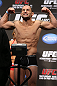 DENVER, CO - AUGUST 10:  Frankie Edgar makes weight during the UFC 150 weigh in at Pepsi Center on August 10, 2012 in Denver, Colorado. (Photo by Josh Hedges/Zuffa LLC/Zuffa LLC via Getty Images)