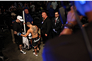 DENVER, CO - AUGUST 11:  Chico Camus prepares to enter the Octagon before his bout against Dustin Pague at UFC 150 inside Pepsi Center on August 11, 2012 in Denver, Colorado. (Photo by Nick Laham/Zuffa LLC/Zuffa LLC via Getty Images)