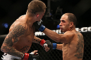 DENVER, CO - AUGUST 11:  (R-L) Chico Camus punches Dustin Pague during their bantamweight bout at UFC 150 inside Pepsi Center on August 11, 2012 in Denver, Colorado. (Photo by Josh Hedges/Zuffa LLC/Zuffa LLC via Getty Images)