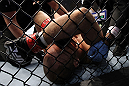 DENVER, CO - AUGUST 11:  Jared Hamman lies on the canvas after being knocked out by Michael Kuiper during their middleweight bout at UFC 150 inside Pepsi Center on August 11, 2012 in Denver, Colorado. (Photo by Josh Hedges/Zuffa LLC/Zuffa LLC via Getty Images)