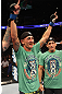 DENVER, CO - AUGUST 11:  Max Holloway reacts after knocking out Justin Lawrence during their featherweight bout at UFC 150 inside Pepsi Center on August 11, 2012 in Denver, Colorado. (Photo by Nick Laham/Zuffa LLC/Zuffa LLC via Getty Images)