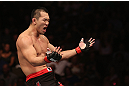 DENVER, CO - AUGUST 11:  Yushin Okami reacts after defeating Buddy Roberts during their middleweight bout at UFC 150 inside Pepsi Center on August 11, 2012 in Denver, Colorado. (Photo by Nick Laham/Zuffa LLC/Zuffa LLC via Getty Images)