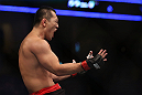 DENVER, CO - AUGUST 11:  Yushin Okami reacts after defeating Buddy Roberts during their middleweight bout at UFC 150 inside Pepsi Center on August 11, 2012 in Denver, Colorado. (Photo by Josh Hedges/Zuffa LLC/Zuffa LLC via Getty Images)