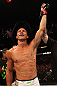 "DENVER, CO - AUGUST 11:  Donald ""Cowboy"" Cerrone reacts after knocking out Melvin Guillard during their lightweight bout at UFC 150 inside Pepsi Center on August 11, 2012 in Denver, Colorado. (Photo by Nick Laham/Zuffa LLC/Zuffa LLC via Getty Images)"