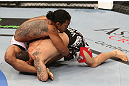 DENVER, CO - AUGUST 11:  (R-L) Frankie Edgar attempts to take down Frankie Edgar during their lightweight championship bout at UFC 150 inside Pepsi Center on August 11, 2012 in Denver, Colorado. (Photo by Nick Laham/Zuffa LLC/Zuffa LLC via Getty Images)