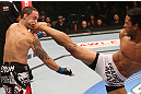 DENVER, CO - AUGUST 11:  (R-L) Benson Henderson kicks Frankie Edgar during their lightweight championship bout at UFC 150 inside Pepsi Center on August 11, 2012 in Denver, Colorado. (Photo by Nick Laham/Zuffa LLC/Zuffa LLC via Getty Images)