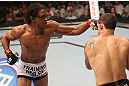 DENVER, CO - AUGUST 11:  (L-R) Benson Henderson punches Frankie Edgar during their lightweight championship bout at UFC 150 inside Pepsi Center on August 11, 2012 in Denver, Colorado. (Photo by Nick Laham/Zuffa LLC/Zuffa LLC via Getty Images)