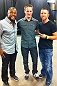 DENVER, CO - AUGUST 11:  UFC fighter Rashad Evans with Muscle Pharm's Jeremy DeLuca and the winner of their UFC 150 sweepstakes attends UFC 150 inside Pepsi Center on August 11, 2012 in Denver, Colorado. (Photos by Zuffa LLC)