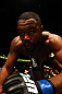 ATLANTA, GA - APRIL 21:  Rashad Evans climbs into the octagon for his light heavyweight title bout against Jon Jones for UFC 145 at Philips Arena on April 21, 2012 in Atlanta, Georgia.  (Photo by Al Bello/Zuffa LLC/Zuffa LLC via Getty Images) *** Local Caption *** Jon Jones; Rashad Evans