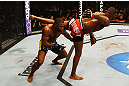 ATLANTA, GA - APRIL 21:  Jon Jones (R) kicks Rashad Evans during their light heavyweight title bout for UFC 145 at Philips Arena on April 21, 2012 in Atlanta, Georgia.  (Photo by Al Bello/Zuffa LLC/Zuffa LLC via Getty Images)