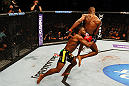 ATLANTA, GA - APRIL 21:  Rashad Evans (L) grabs Jon Jones during their light heavyweight title bout for UFC 145 at Philips Arena on April 21, 2012 in Atlanta, Georgia.  (Photo by Al Bello/Zuffa LLC/Zuffa LLC via Getty Images)