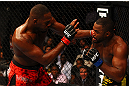 ATLANTA, GA - APRIL 21:  Jon Jones (L) fights Rashad Evans during their light heavyweight title bout for UFC 145 at Philips Arena on April 21, 2012 in Atlanta, Georgia.  (Photo by Al Bello/Zuffa LLC/Zuffa LLC via Getty Images)