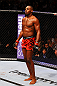 ATLANTA, GA - APRIL 21:  Jon Jones looks on during his light heavyweight title bout with Rashad Evans for UFC 145 at Philips Arena on April 21, 2012 in Atlanta, Georgia.  (Photo by Al Bello/Zuffa LLC/Zuffa LLC via Getty Images)