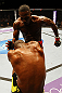 ATLANTA, GA - APRIL 21:  Jon Jones (back) knees Rashad Evans during their light heavyweight title bout for UFC 145 at Philips Arena on April 21, 2012 in Atlanta, Georgia.  (Photo by Al Bello/Zuffa LLC/Zuffa LLC via Getty Images) *** Local Caption *** Jon Jones; Rashad Evans