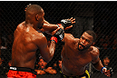 ATLANTA, GA - APRIL 21:  Jon Jones (L) blocks a punch by Rashad Evans during their light heavyweight title bout for UFC 145 at Philips Arena on April 21, 2012 in Atlanta, Georgia.  (Photo by Al Bello/Zuffa LLC/Zuffa LLC via Getty Images)