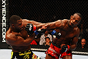 ATLANTA, GA - APRIL 21:  Jon Jones and Rashad Evans exchange blows during their light heavyweight title bout for UFC 145 at Philips Arena on April 21, 2012 in Atlanta, Georgia.  (Photo by Al Bello/Zuffa LLC/Zuffa LLC via Getty Images)