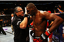 ATLANTA, GA - APRIL 21:  Jon Jones receives medical attention after defeating Rashad Evans by unanimous decision in their light heavyweight title bout for UFC 145 at Philips Arena on April 21, 2012 in Atlanta, Georgia.  (Photo by Al Bello/Zuffa LLC/Zuffa LLC via Getty Images)