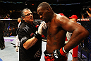 ATLANTA, GA - APRIL 21:  Jon Jones receives medical attention after defeating Rashad Evans by unanimous decision in their light heavyweight title bout for UFC 145 at Philips Arena on April 21, 2012 in Atlanta, Georgia.  (Photo by Al Bello/Zuffa LLC/Zuffa LLC via Getty Images) *** Local Caption *** Jon Jones